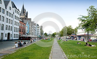 Promenade along the Rhine Editorial Stock Image