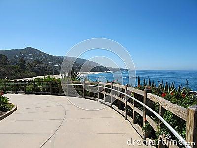 Promenade by blue sea