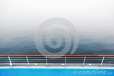 Promenade deck and railing of cruise ship