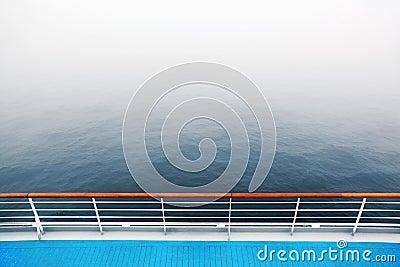 Promenade deck and railing of cruise ship