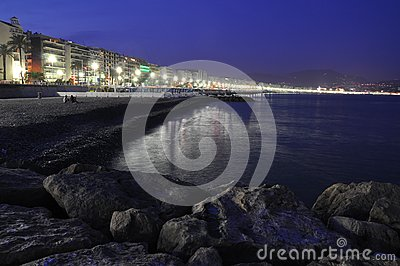 Promenade in Nice at night