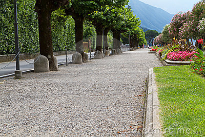 Promenade on the shores of lake Como, Italy