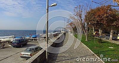 Promenade spring embankment in the Bulgarian Pomorie stock video