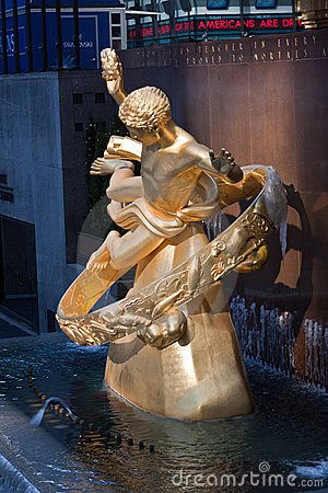 Prometheus at Rockefeller Center New York Cityy Editorial Photo