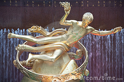 Prometheus Statue at Rockefeller Center, New York Editorial Stock Photo