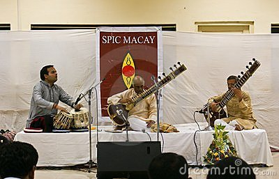 Prominent Indian musician playing Sitar live Editorial Stock Image