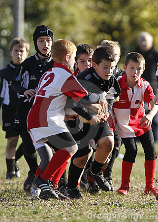 Promocyjna rugby turnieju młodość Fotografia Editorial