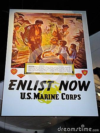 Promotional Poster, USMC Museum Editorial Stock Photo