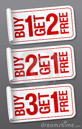Promotional sale stickers.