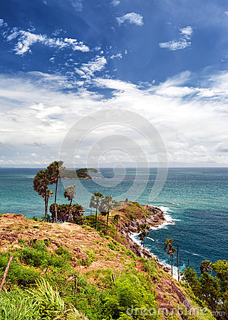 Promthep Cape Phuket viewpoint in Thailand. Andaman sea