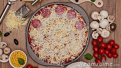 Propósito superior de hacer una pizza - pare la animación del movimiento, la cámara gira y z metrajes