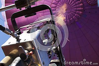 Propane flame in purple hot air balloon