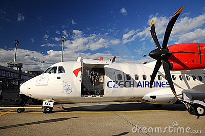 Propeller aircraft ART42 500 in Prague airport Editorial Image
