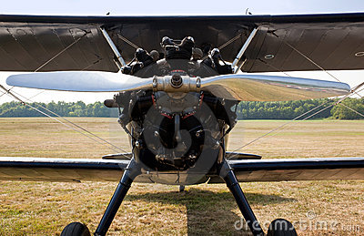 Propeller and engine of old biplane