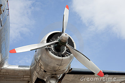 Propeller engine of vintage airplane DC-3