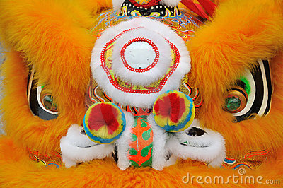 Property lion detail in Chinese lion dance