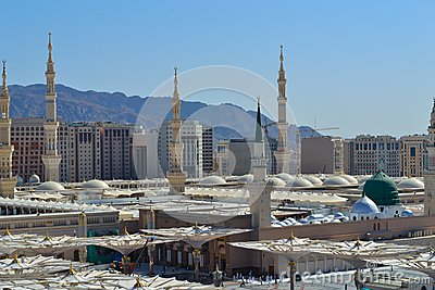 Prophet s Mosque in Medina close up