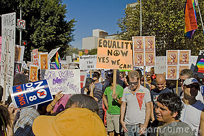 Proposition 8 Protest Rally & March In Los Angeles Editorial Stock Image