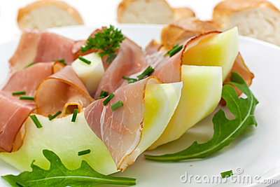 Prosciutto di Parma ham and three slice of melon