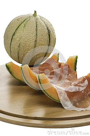 Prosciutto and melon and melon slices