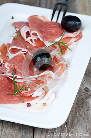 Prosciutto and olive