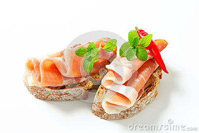 Prosciutto open faced sandwiches