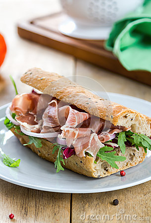 Free Prosciutto With Rocket And Radicchio Sandwich Stock Image - 47275411