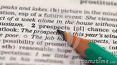 Prospecção no vocabulário em inglês, planejamento do desenvolvimento de negócios, chances video estoque