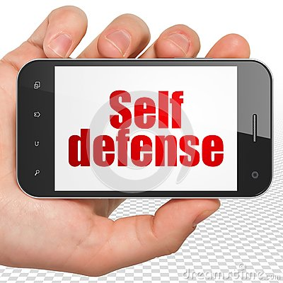 Free Protection Concept: Hand Holding Smartphone With Self Defense On Display Stock Photo - 111082170