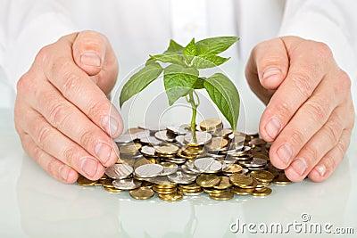 Protection d argent d investissement de concept