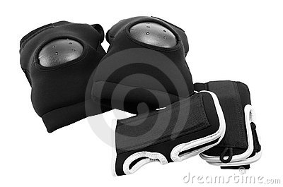 Protection of knees and wrists  snowboarder