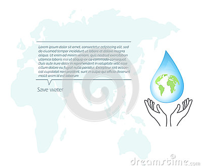 Protection Of Nature. Save water. Vector Illustration