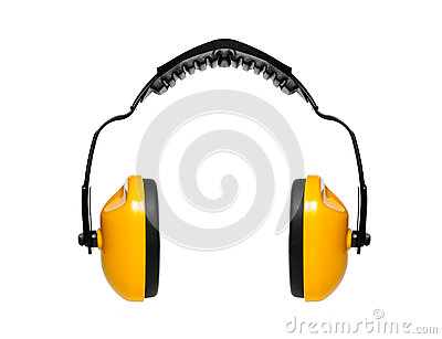 Protective ear muffs with white backgroun