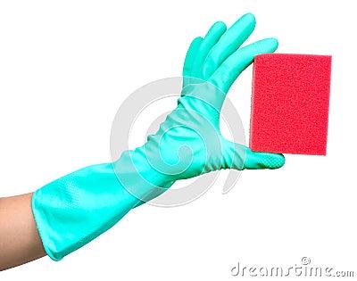 Protective glove and sponge