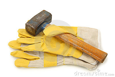 Protective gloves and hammer