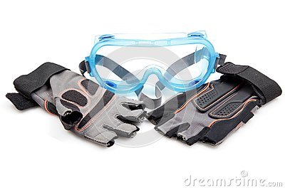 Protective goggle and gloves
