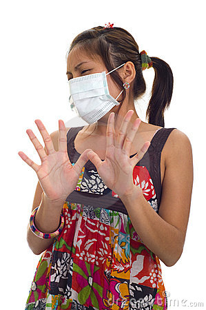 Protective mask on young asian