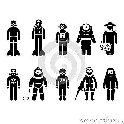 Protective Suit Gear Uniform Wear Stick Figure Pic