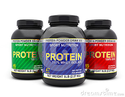 Protein Jars Isolated On White Background Stock ...