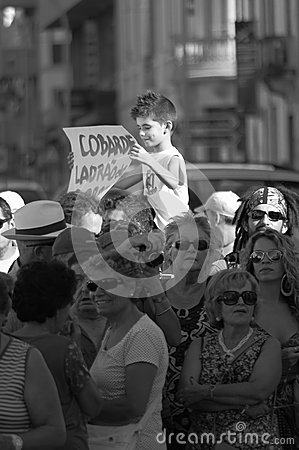 Protest against austerity - Loule Editorial Stock Photo