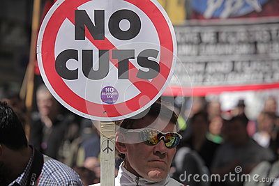 Protest against cuts in public spending Editorial Image