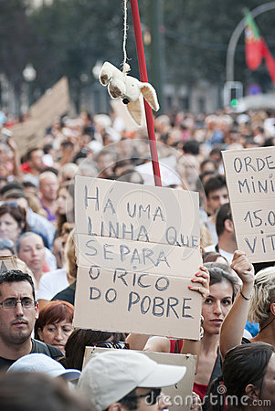 Protest against government cuts, Porto Editorial Stock Image