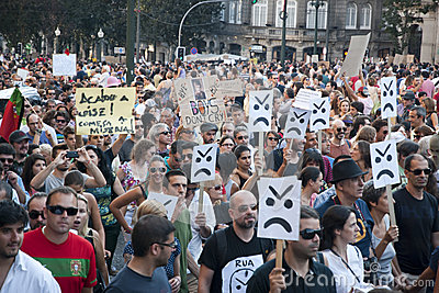 Protest against government cuts, Porto Editorial Image