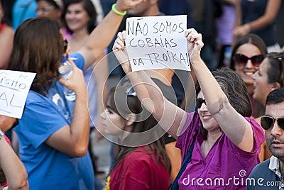 Protest against government cuts, Porto Editorial Stock Photo