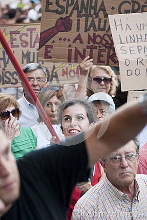 Protest against government cuts, Porto Editorial Stock Image