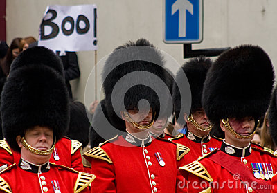 Protest at Baroness Thatcher s funeral Editorial Photography