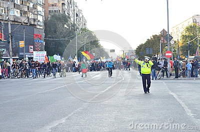 Protest in Bucharest Editorial Photography