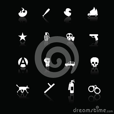 Protest icons white on black