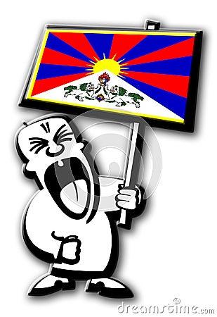 Free Protest Man Tibet Stock Image - 4938091