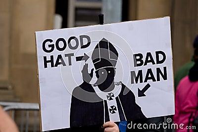 Protest during Pope visit to UK, Edinburgh Editorial Stock Image